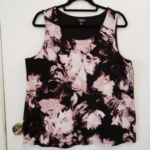 Womens L mauve floral tank top -Simply Vera Wang